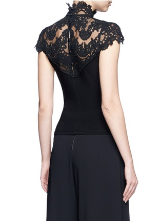Back View - Click To Enlarge - alice + olivia - 'Dandi' floral lace crepe top