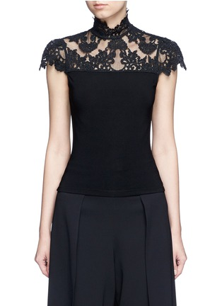 Main View - Click To Enlarge - alice + olivia - 'Dandi' floral lace crepe top
