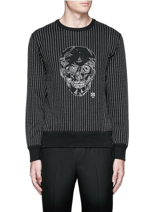 Main View - Click To Enlarge - Alexander McQueen - Skull stitch embroidery cotton sweatshirt