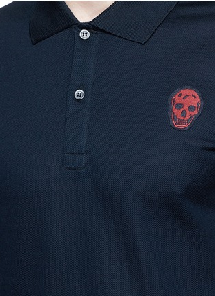 Detail View - Click To Enlarge - Alexander McQueen - Skull embroidery polo shirt