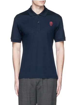 Main View - Click To Enlarge - Alexander McQueen - Skull embroidery polo shirt