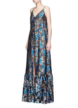 Front View - Click To Enlarge - Lanvin - Metallic floral jacquard silk split front dress