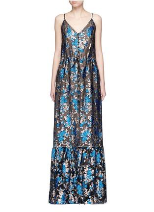 Main View - Click To Enlarge - Lanvin - Metallic floral jacquard silk split front dress