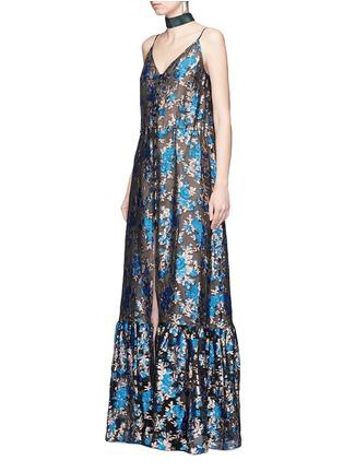 Figure View - Click To Enlarge - Lanvin - Metallic floral jacquard silk split front dress