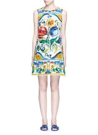 Main View - Click To Enlarge - Dolce & Gabbana - Maiolica print floral brocade A-line dress