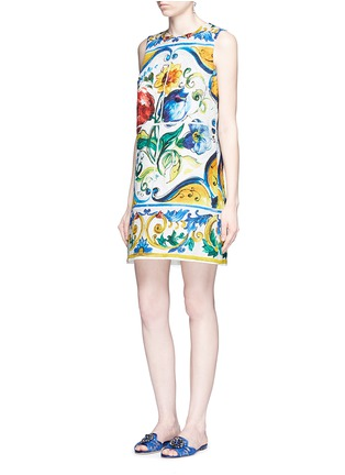 Figure View - Click To Enlarge - Dolce & Gabbana - Maiolica print floral brocade A-line dress