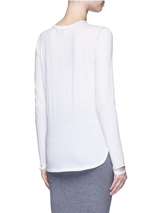 Back View - Click To Enlarge - Helmut Lang - 'Detached cuff' cotton-cashmere T-shirt
