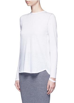 Front View - Click To Enlarge - Helmut Lang - 'Detached cuff' cotton-cashmere T-shirt