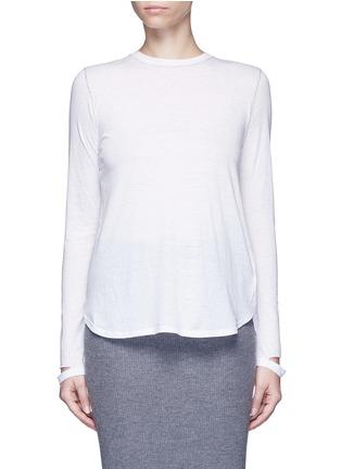 Main View - Click To Enlarge - Helmut Lang - 'Detached cuff' cotton-cashmere T-shirt
