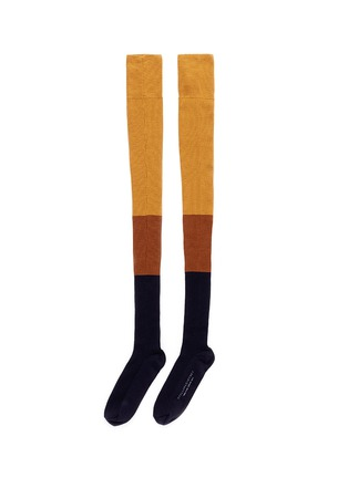Main View - Click To Enlarge - Stella McCartney - 'Millenium' colourblock long thigh high socks