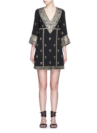 Main View - Click To Enlarge - alice + olivia - 'Ray' bead embroidery V-neck dress