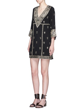 Figure View - Click To Enlarge - alice + olivia - 'Ray' bead embroidery V-neck dress