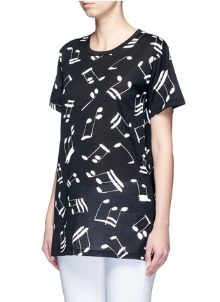 Front View - Click To Enlarge - SAINT LAURENT - Musical note print jersey T-shirt
