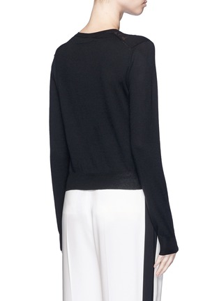 Back View - Click To Enlarge - LANVIN - Lace insert wool blend cardigan