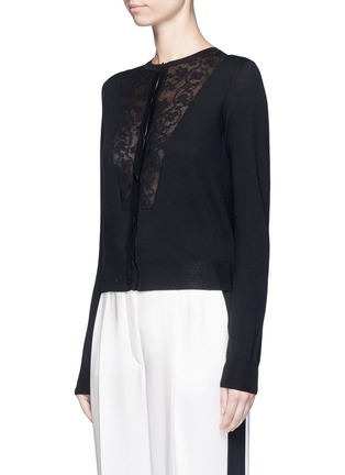 Front View - Click To Enlarge - LANVIN - Lace insert wool blend cardigan