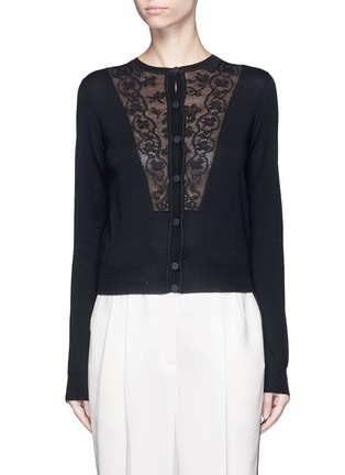 Main View - Click To Enlarge - LANVIN - Lace insert wool blend cardigan