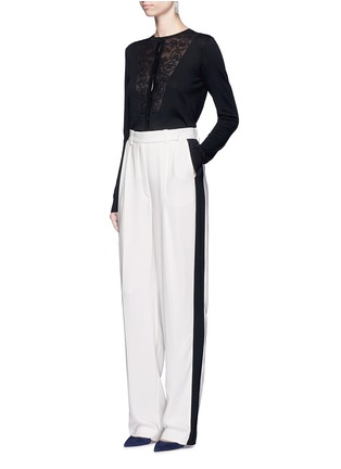 Figure View - Click To Enlarge - LANVIN - Lace insert wool blend cardigan