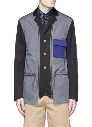 Detail View - Click To Enlarge - Marni - Reversible contrast pocket drawstring blazer