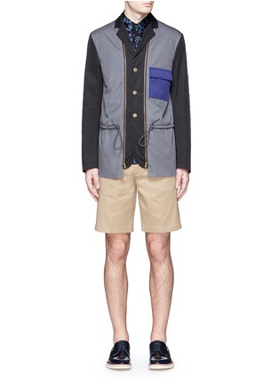 Figure View - Click To Enlarge - Marni - Reversible contrast pocket drawstring blazer