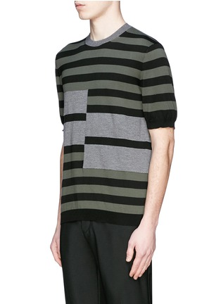 Front View - Click To Enlarge - Marni - Stripe cotton-wool short sleeve sweater