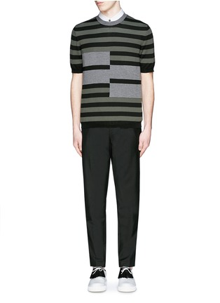 Figure View - Click To Enlarge - Marni - Stripe cotton-wool short sleeve sweater