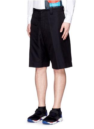 Front View - Click To Enlarge - Marni - Wide leg jacquard shorts