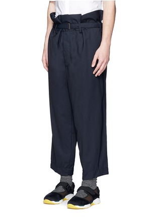 Front View - Click To Enlarge - Marni - Paperbag waist crinkle wool wide leg pants