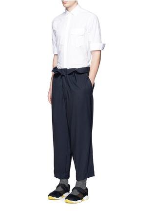 Figure View - Click To Enlarge - Marni - Paperbag waist crinkle wool wide leg pants