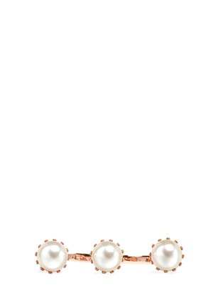Figure View - Click To Enlarge - JOOMI LIM - 'Lady Rebel' faux pearl two finger ring