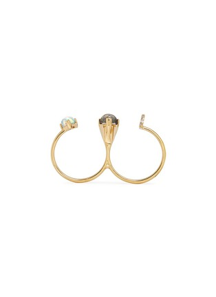 Detail View - Click To Enlarge - Phyne By Paige Novick - Marta' 18k gold diamond pavé opal labradorite two finger ring