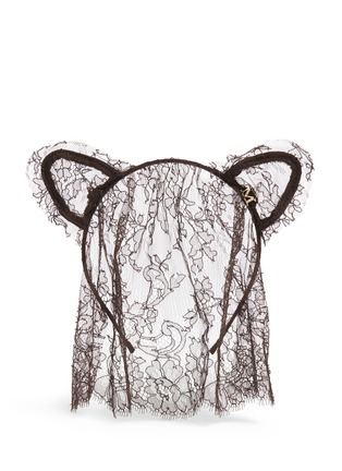 Main View - Click To Enlarge - MAISON MICHEL - 'Heidi' cat ear lace veil headband