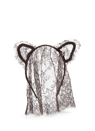 Figure View - Click To Enlarge - MAISON MICHEL - 'Heidi' cat ear lace veil headband