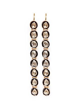 Main View - Click To Enlarge - Aishwarya - Mounted diamond gold alloy drop earrings