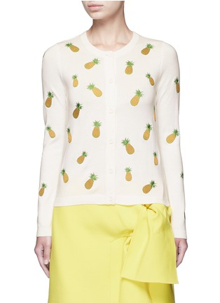 Main View - Click To Enlarge - alice + olivia - Pineapple embroidery cotton cardigan