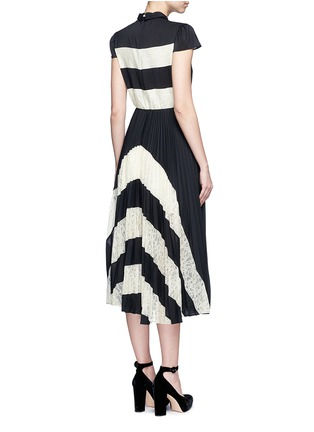 Back View - Click To Enlarge - alice + olivia - 'Gale' lace insert plissé pleat skirt chiffon dress
