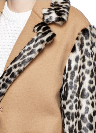 Detail View - Click To Enlarge - STELLA MCCARTNEY - Colourblock leopard faux fur melton coat