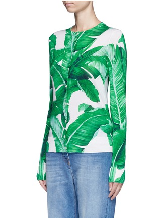Front View - Click To Enlarge - Dolce & Gabbana - Banana leaf print silk cardigan