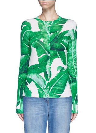 Main View - Click To Enlarge - Dolce & Gabbana - Banana leaf print silk cardigan
