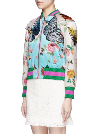 Front View - Click To Enlarge - Gucci - Mix embroidery floral print satin bomber jacket