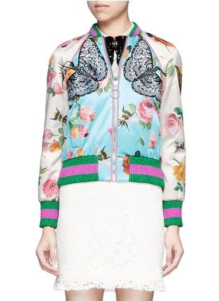 Main View - Click To Enlarge - Gucci - Mix embroidery floral print satin bomber jacket