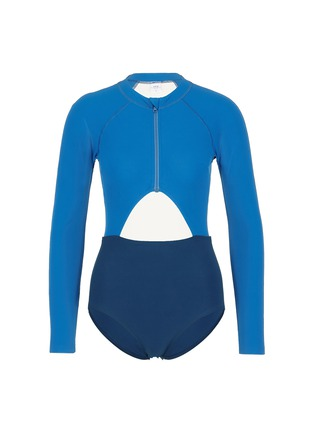 Main View - Click To Enlarge - Flagpole Swim - 'Kelly' cutout colourblock long sleeve swimsuit