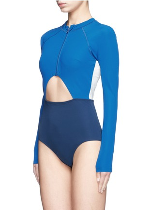Figure View - Click To Enlarge - Flagpole Swim - 'Kelly' cutout colourblock long sleeve swimsuit