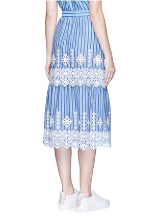 Back View - Click To Enlarge - Miguelina - 'Carolina' cutwork embroidery stripe midi skirt