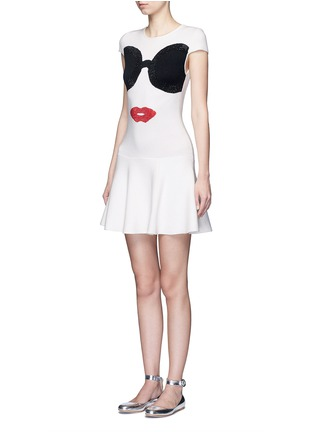 Front View - Click To Enlarge - ALICE + OLIVIA - 'Stacey's Face' intarsia crystal embellished knit dress