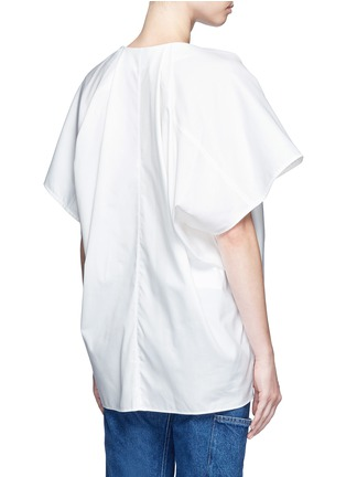 Back View - Click To Enlarge - Balenciaga - Wide sleeve poplin plunge V-neck top