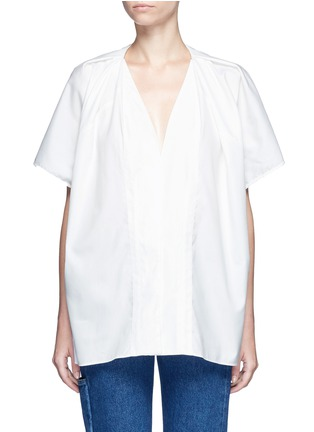 Main View - Click To Enlarge - Balenciaga - Wide sleeve poplin plunge V-neck top