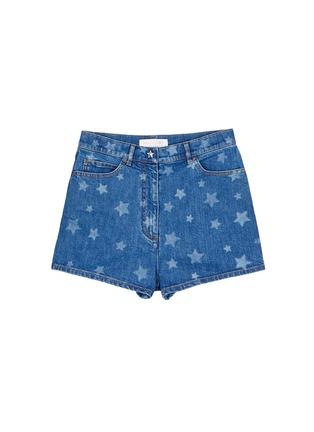 Main View - Click To Enlarge - VALENTINO - Star print denim shorts