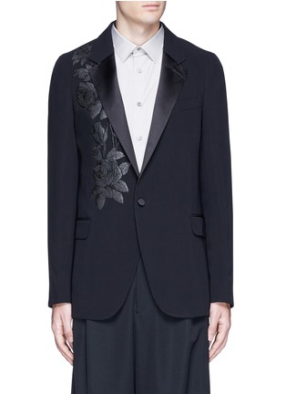 Main View - Click To Enlarge - Alexander McQueen - Waxed floral embroidery crepe blazer