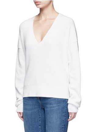 Front View - Click To Enlarge - Helmut Lang - Belted V-neck cotton-cashmere sweater
