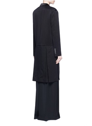 Back View - Click To Enlarge - Givenchy Beauty - Textured stripe silk satin lapel crepe coat